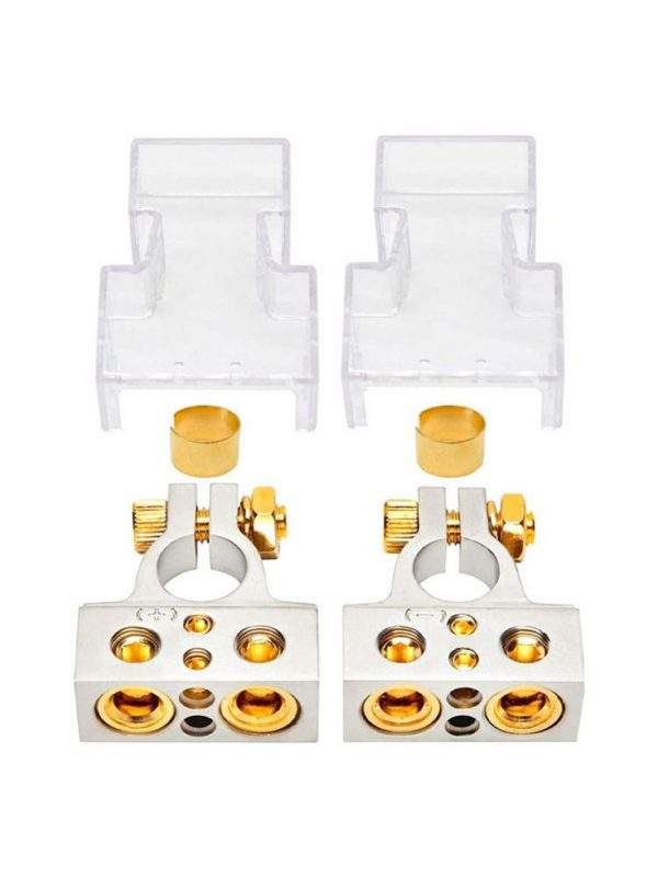 2Pcs Zinc Alloy Car Battery Terminal Connector Kit 2/4/8/10 AWG Instrument Positive Negative Car Battery Post Clamp