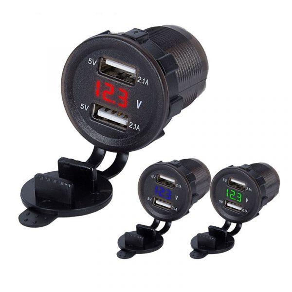 12V/24 3A Car Cigarette Lighter Socket Twin USB Charger Power Adapter Outlet Battery Charging Units Dual USB Socket TSLM1